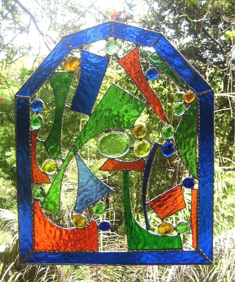 c87f7f46dce9 Stained Glass Suncatcher Abstract Design 10x 12
