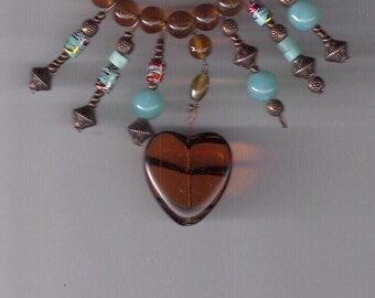 21 inch Heartfelt  Amber Glass Bead Necklace