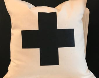 Black and Cream Swiss Cross Pillow - Home Decor - House Warming Gift