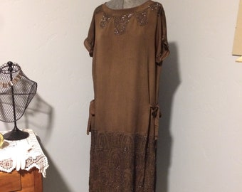 Brown Beaded Flapper Dress Size 12 to 14