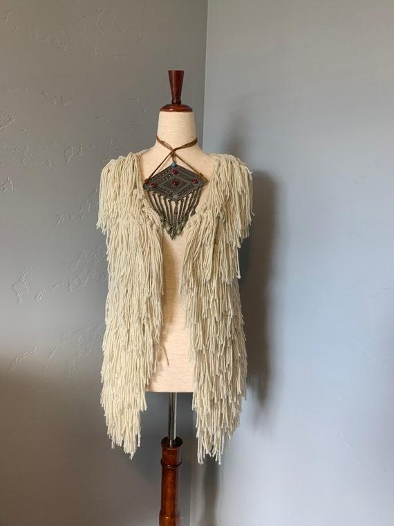 Fringed Knit Hippie Vest
