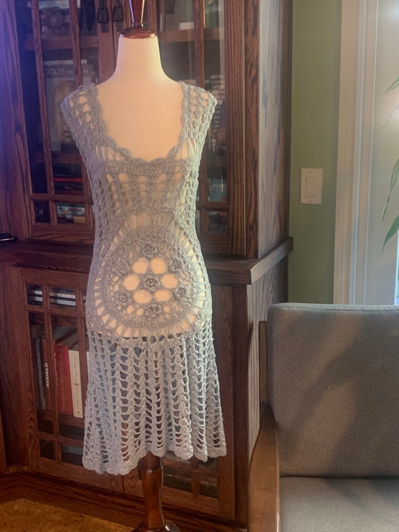Gray Crochet Hippie Boho Dress