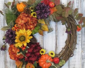 Fall Wreath, Fall Decor, Fall Floral Wreath, Autumn Wreath, Fall Hydrangea Wreath, Fall Sunflower Wreath, Rustic Fall Wreath