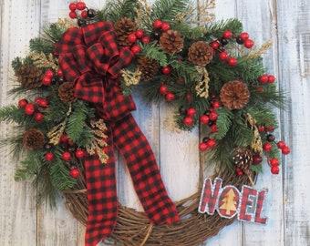 Christmas Wreath, Buffalo Plaid Wreath, Rustic Christmas Wreath, Buffalo Check Christmas Wreath, Red and Black Plaid Wreath, Winter Decor