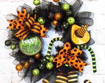 Halloween Wreath, Halloween Witch Wreath, Halloween Decoration, Halloween Decor, Witch Decor, Happy Halloween