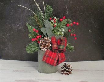 Small Christmas Arrangement, Tartan Plaid Decor, Traditional Christmas Decor, Christmas Shelf Decor, Christmas Mantel Decor, Desktop Decor