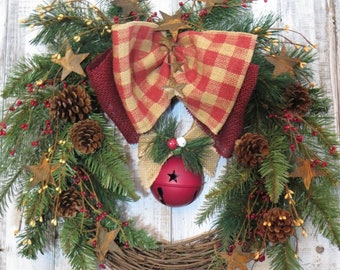Primitive Christmas Wreath, Rustic Christmas Wreath, Country Christmas Wreath, Christmas Wreath With Rusty Stars, Wreath With Sleigh Bell