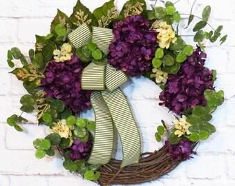 Wreaths On Sale, Purple Hydrangea Wreath, Purple Wreath, Hydrangea Wreath,  Any Season Wreath, Grapevine Wreath
