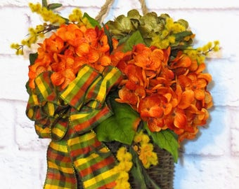 Summer Door Basket, Fall Door Basket, Summer through Fall Decor,  Hydrangea Wreath, Rustic Wreath, Rustic Decor,