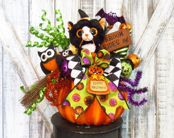 Halloween Arrangement, Halloween Decor, Pumpkin Arrangement, Halloween Centerpiece, Whimsical Halloween, Halloween Gift