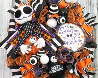 Halloween Wreath, Halloween Decor, Jack Skellington Halloween, Halloween Deco Mesh Wreath, Whimsical Halloween Wreath, Spooky Wreath