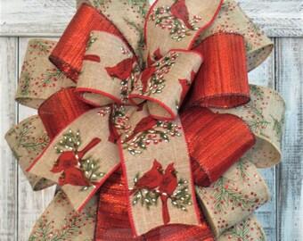 Christmas Lantern Bow, Cardinal Lantern Bow, Bow For Christmas Wreath, Cardinal Decor, Christmas Lantern Swag, Bow With Cardinals
