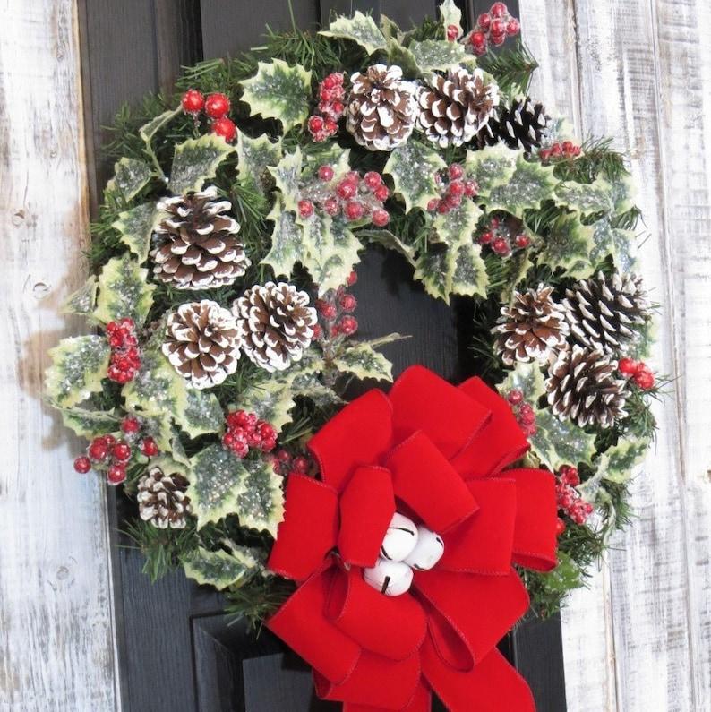 Christmas Wreath Holly Wreath Pinecone Wreath Christmas image 1