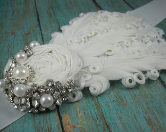 White sash for wedding - bridal belt - maternity sash - feather sash - wedding accessories - belts and sashes