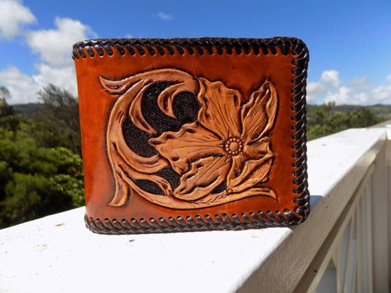 Wallet Men Leather Western Hand Carved And Tooled Etsy