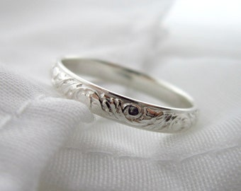 Deco Band Ring - Sterling Silver Ring - Stacking Thumb Ring - Simple Floral Pattern Ring Band - Hand Forged Jewelry - Wedding Band -McNair