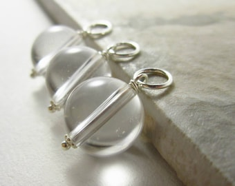 L- Clear Quartz Pendant - Healing Stone Jewelry - Natural Crystal Ball Jewelry - Clear Crystal Ball Charm - Sterling Silver or 14k Gold Fill