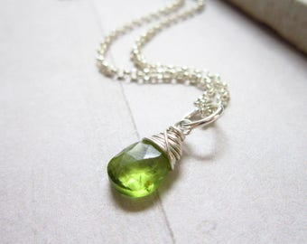 Genuine Gemstone Peridot Gemstone - Sterling Silver Charms - Wire Wrapped Jewelry Handmade - Peridot Birthstone - August Birthstone Jewelry