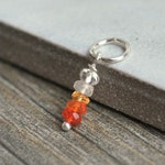 Gem Stack- Shaded Mexican Fire Opal Jewelry - Red Opal Necklace Charms - Orange Opal Stone Jewelry - Add On Charms - Sterling Silver Charms