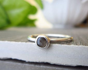Sz 8 - Black Sapphire Ring - Star Sapphire Jewelry - Genuine Sapphire Birthstone Ring - Sterling Silver Ring - Stacking Ring - Linda McNair