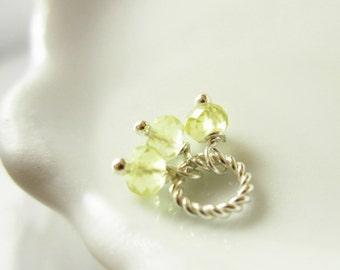 Tiny Trio - Lemon Yellow Quartz Gemstone Charms - Sterling Silver Pendant - Lemon Quartz Gemstone Pendant - Wire Wrapped Jewelry Handmade
