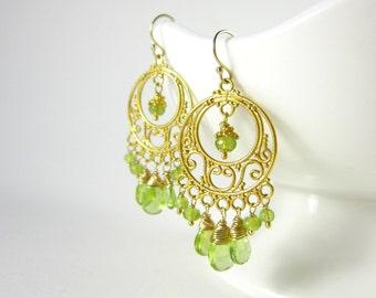 Green and Gold Chandelier Earrings - 14k Gold Earrings - August Birthstone Earrings - Genuine Peridot Earrings - Natural Stone Jewelry
