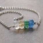 Custom Order - Emerald, Moonstone, Sapphire, and Citrine Bar Style Bracelet in Sterling Silver