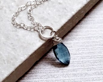 London Blue Topaz Charms - Sterling Silver Charms - Birthday Gift for Her - Born in December Birthstone Charms - Natural Gemstone Charms