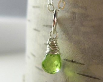 Sterling Silver Charms - Bright Green Peridot Gemstone - August Birthstone Jewelry Handmade - Wire Wrapped Gemstone Charm - Genuine Gemstone