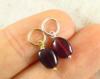 January Birthstone Garnet Jewelry - Garnet Pendant - Natural Stone Jewelry - Healing Stones - Sterling Silver Charms - 14k Gold