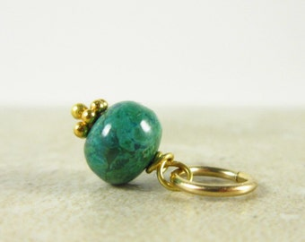 Small Charms - GREEN Chrysocolla Bracelet Charms - Chrysocolla Necklace Charms - 14k Gold Charms - Healing Crystals and Stones