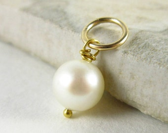 Genuine Pearl Charm Bracelet Charms - White Pearl Necklace Charms - Freshwater Pearl Pendant - Pearl Birthstone Pendant - 14k Gold Charms