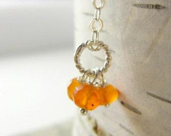 LGR Trio - Neon Orange Carnelian Gemstone Pendant - Sterling Silver Charms - Natural Gemstone Carnelian Jewelry - Bright Orange Jewelry