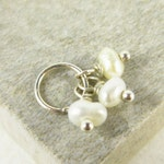 Tiny Trio - Bridesmaid Gift Jewelry - Pearl Bridal Jewelry - Sterling Silver Charms - Snow White Pearl Jewelry - Cultured Pearl Charm Trio