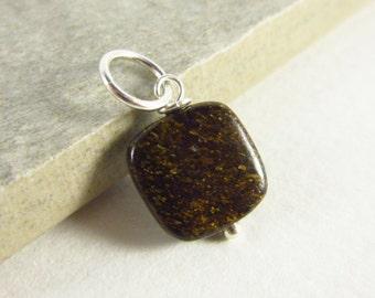 Natural Bronzite Gemstone Charms - Dark Brown Stone Pendant - Semiprecious Stone Jewelry - Pyroxene Mineral Jewelry - Rocks and Minerals