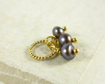 Tiny Trio - Bridesmaid Gift Jewelry - Pearl Bridal Jewelry - 14k Gold Charms - Black Pearl Jewelry - Freshwater Pearl Charm Trio