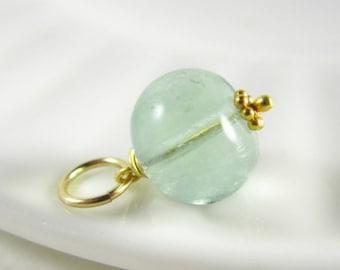 Blue Green Fluorite Jewelry - Light Green Fluorite Pendant - Green Stone Pendant - Sterling Silver Jewelry - 14k Gold Jewelry