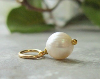 d7b0c88bb Genuine Pearl Charm Bracelet Charms - White Pearl Necklace Charms - Freshwater  Pearl Pendant - Pearl Birthstone Pendant - 14k Gold Charms
