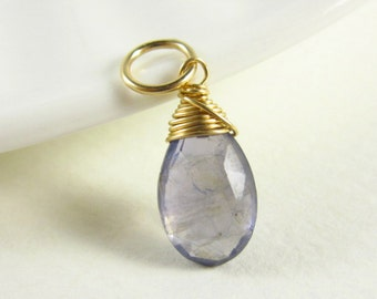 L - Denim Blue Iolite Jewelry - 14k Gold Pendant - Natural Iolite Pendant - Water Sapphire Charm - Wire Wrapped Necklace Charms