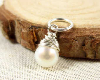 White Pearl Jewelry - Freshwater Pearl Charms - June Birthstone Pendant - Genuine Pearl Birthstone Jewelry - Sterling Silver Charms