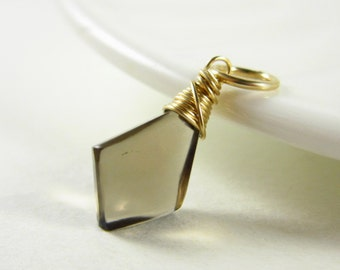 Smoky Quartz Crystal Necklace Charm - 14k Gold Charm - Natural Gemstone Dangle Pendant - Healing Crystals and Stones - Simple Gifts Under 15