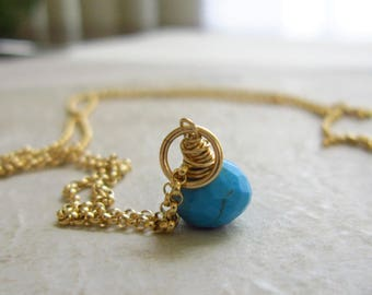 Genuine Turquoise Jewelry - Sleeping Beauty Turquoise Pendant - Bright Blue Turquoise Birthstone - 14k Gold Necklace Charm - JustDangles