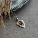 Sterling Silver Shield Protection Amulet - Carved Leaf Gemstone of Orange Citrine - November Birthstone Pendant for Necklaces