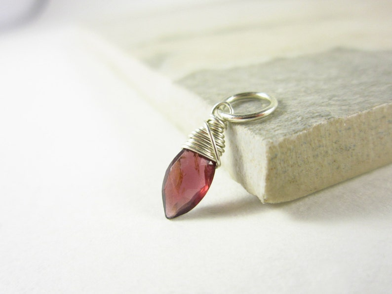 Tiny Dark Red Garnet Jewelry  Natural Garnet Pendant  Born image 0