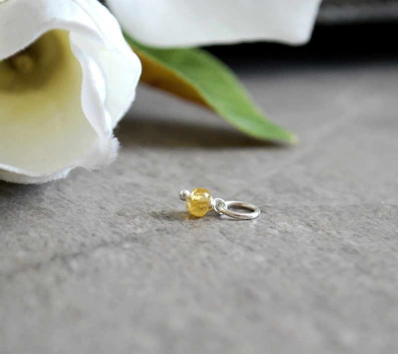 Tiny Solo  Add on Accent  Canary Yellow Sapphire Charm in image 0