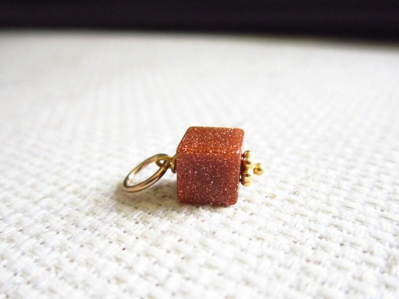 Burnt Orange Goldstone Pendant  Glass Bead Goldstone Jewelry image 0