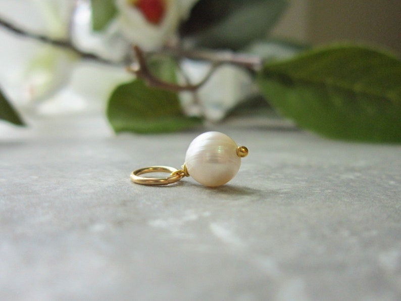 Genuine Pearl Charm Bracelet Charms  White Pearl Necklace image 0
