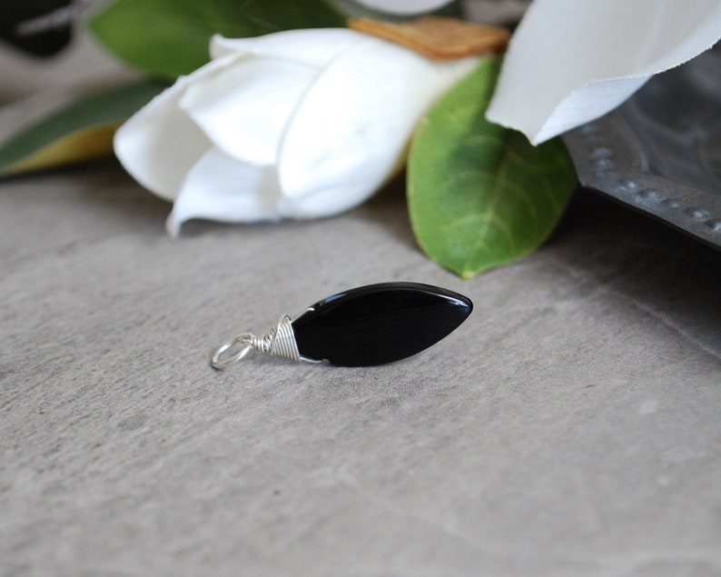 Jet Black Onyx Gemstone  Sterling Silver Charms  Natural image 0