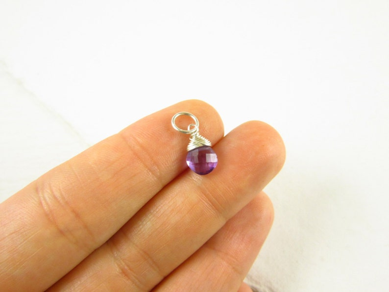 Family Birthstone Jewelry February Birthstone Gift for New Mom Light Purple Amethyst Gemstone Charm for Necklaces and Bracelets