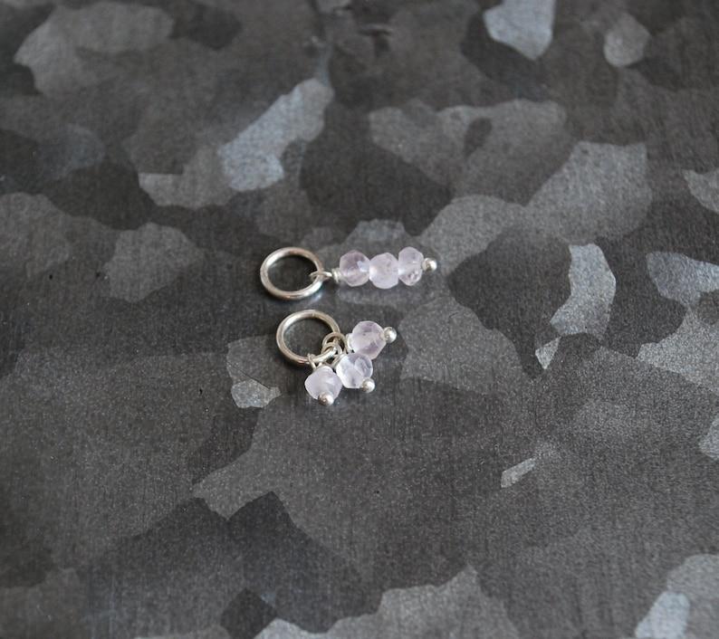 Tiny Trio  Rose Quartz Gemstone Charm  Wire Wrapped Sterling image 0